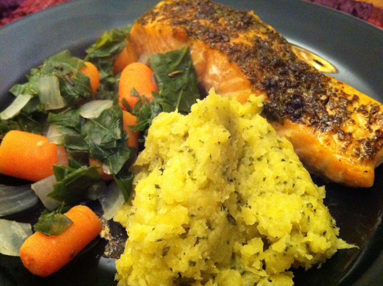 ... with Fresh Greens & Carrots and a side of Rutabaga Mash | Reckermended