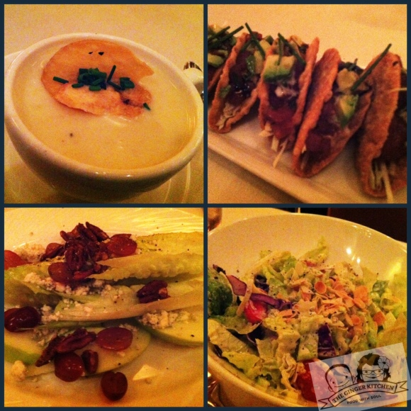 Top: Truffled Potato Leek Soup, Ahi Tuna TacosBottom: Romaine Waldorf, Chopped Salad