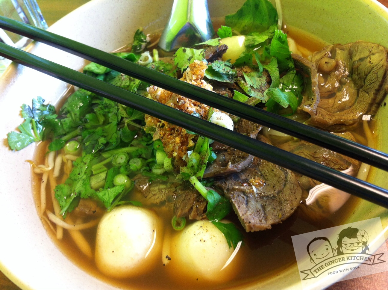 the thai beef noodle soup was fabulous full of thinly
