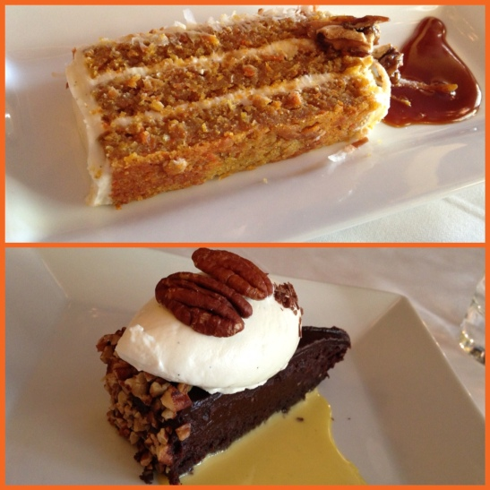 Carrot Walnut Cake and Chocolate Bourbon Pecan Cake
