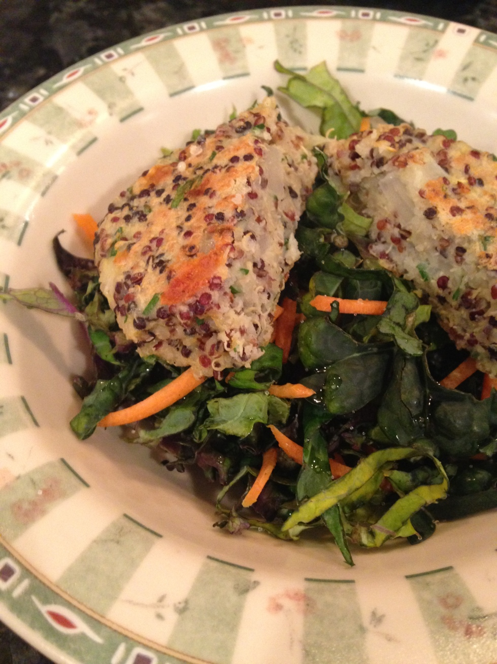 Quinoa Burger with Kale Salad