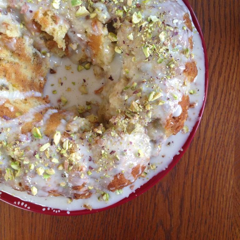 Rhubarb Pistachio Bundt Cake